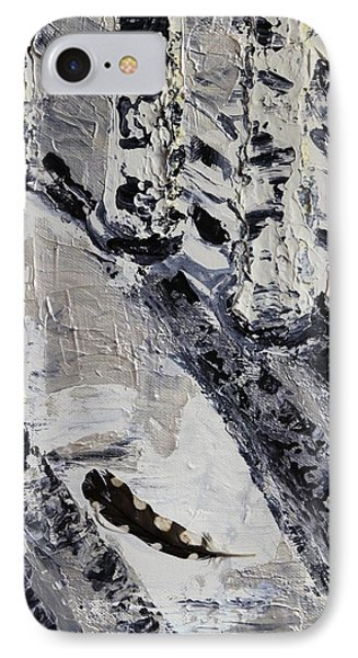 Birches And Snowy Shadows Phone Case by Valerie Ornstein