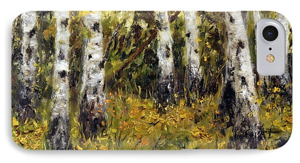 IPhone Case featuring the painting Birches by Arturas Slapsys
