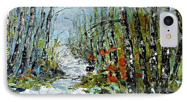 Birches Near Waterfall IPhone Case by AmaS Art