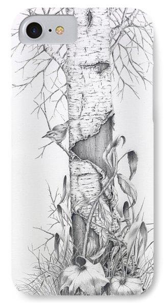 Bird In Birch Tree IPhone Case