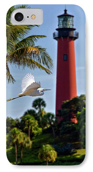 Bird In Flight Under Jupiter Lighthouse, Florida IPhone Case by Justin Kelefas