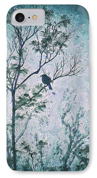 Bird In Tree Silhouette IIi Abstract 3 IPhone Case by Linda Brody