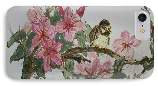 IPhone Case featuring the painting Bird On Blossoms by Avonelle Kelsey