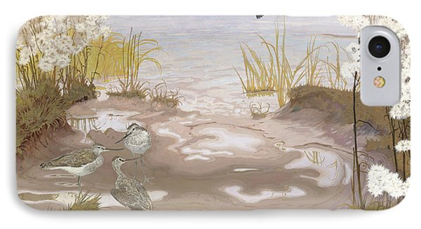 Bird On The Mud Flats Of The Elbe IPhone Case by Friedrich Lissmann