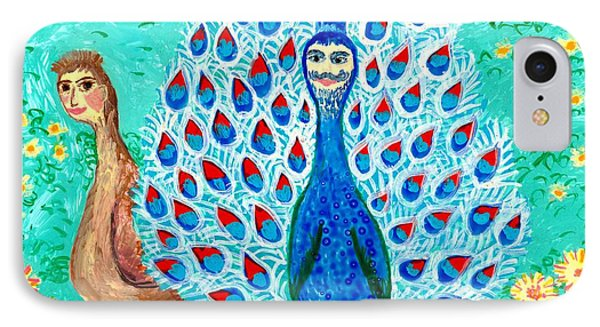 Bird People Peacock King And Peahen Phone Case by Sushila Burgess