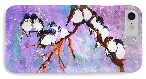 Bird Snowfall Limited Edition Print 1-25 IPhone Case by Donna Dixon