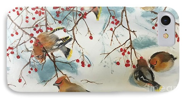 Cedar Waxing iPhone 7 Case - Birds And Berries by Diane Donati