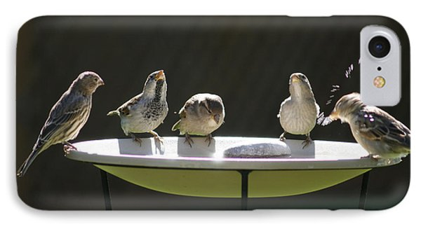 Birds Drinking From Bird Bath In Summer Sunshine Phone Case by Gordon Wood