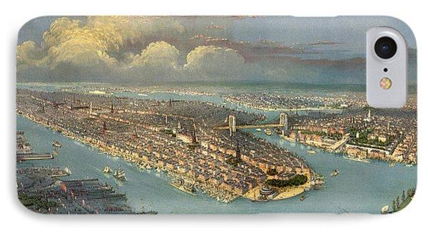 Bird's Eye View Of New York City  IPhone Case by American School