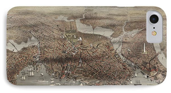 Birds Eye View Of The City Of Boston, Circa 1873 IPhone Case by Currier and Ives