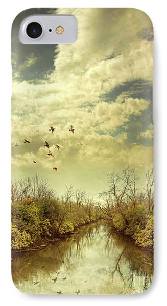 IPhone Case featuring the photograph Birds Flying Over A River by Jill Battaglia