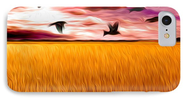 Birds Over Wheat Field Phone Case by Anthony Caruso