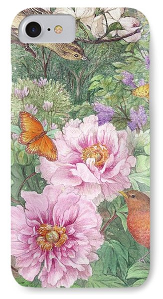 IPhone Case featuring the painting Birds Peony Garden Illustration by Judith Cheng