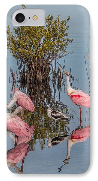 Birds, Reflections, And Mangrove Bush IPhone Case