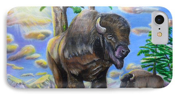 IPhone Case featuring the painting Bison Acrylic Painting by Thomas J Herring