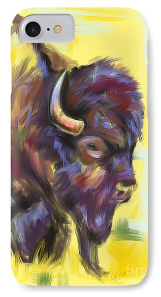 IPhone Case featuring the painting Bison And Bird by Go Van Kampen