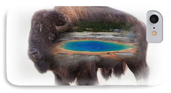 Bison And Great Prismatic Spring Double Exposure IPhone Case