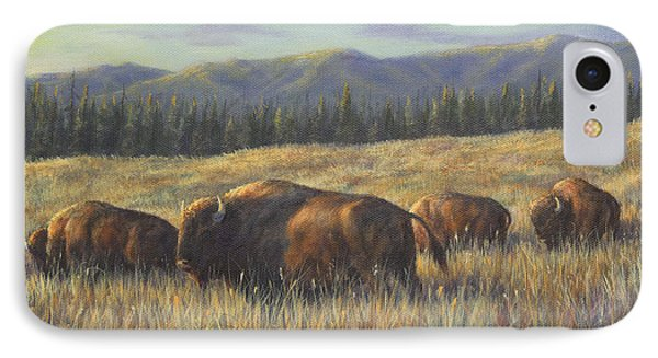 IPhone Case featuring the painting Bison Bliss by Kim Lockman