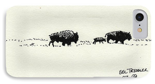 Bison Family IPhone Case by Eric Tressler