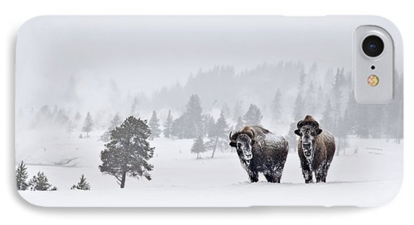IPhone 7 Case featuring the photograph Bison In The Snow by Gary Lengyel
