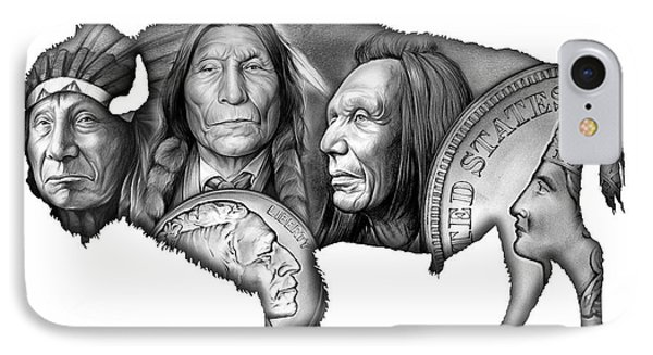 Bison Indian Montage 2 IPhone Case by Greg Joens