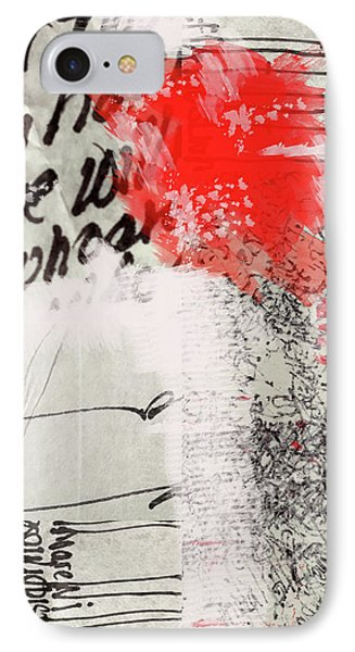 IPhone Case featuring the painting Black And Red 4 by Nancy Merkle