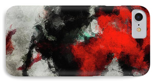 Black And Red Abstract Minimalist Painting IPhone Case by Ayse Deniz