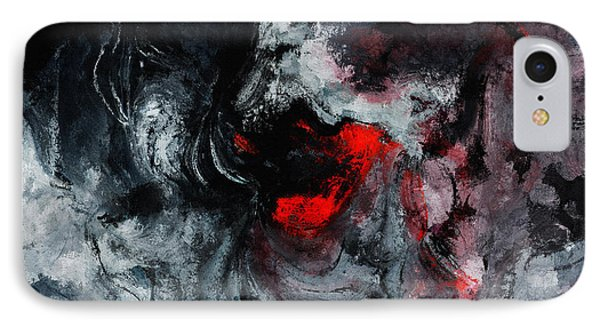 Black And Red Abstract Painting  IPhone Case by Ayse Deniz
