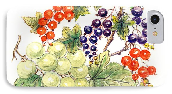 Black And Red Currants With Green Grapes IPhone Case by Nell Hill