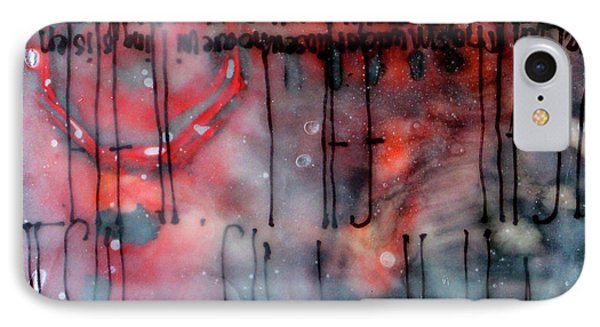 IPhone Case featuring the painting Black And Red Encaustic 4 by Nancy Merkle