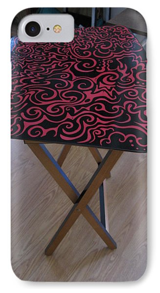 Black And Red Tv Table IPhone Case by Mandy Shupp