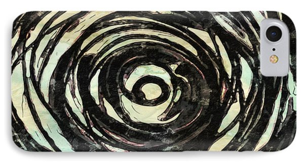 IPhone Case featuring the painting Black And White Abstract Curves by Joan Reese