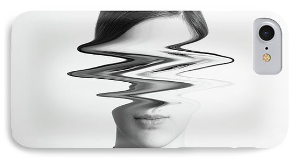 Black And White Abstract Woman Portrait Of Restlessness Concept IPhone Case by Radu Bercan