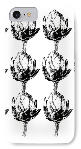 Black And White Artichokes- Art By Linda Woods IPhone 7 Case by Linda Woods