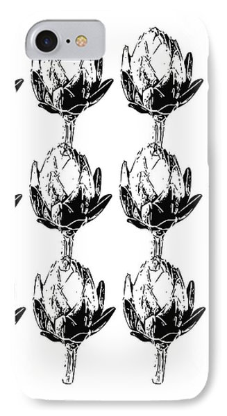 IPhone Case featuring the mixed media Black And White Artichokes- Art By Linda Woods by Linda Woods