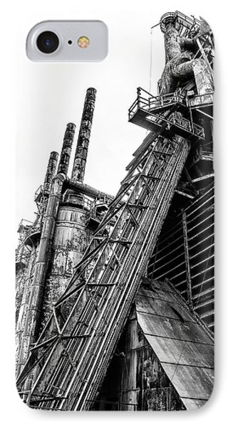 Black And White - Bethlehem Steel Mill IPhone Case by Bill Cannon