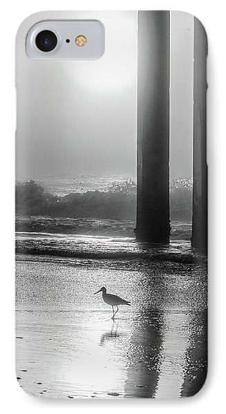 IPhone Case featuring the photograph Black And White Bird Beach by John McGraw