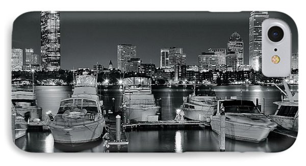 Black And White Boston Pano IPhone Case by Frozen in Time Fine Art Photography