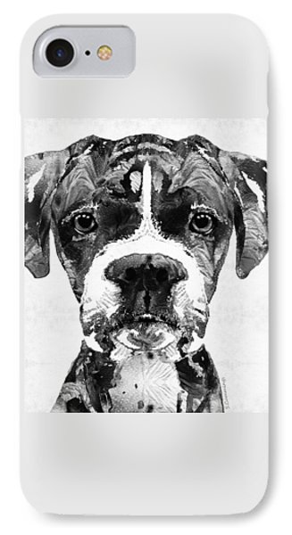 Black And White Boxer Dog Art By Sharon Cummings  IPhone Case by Sharon Cummings
