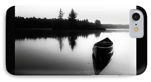 Black And White Canoe In Still Water IPhone Case