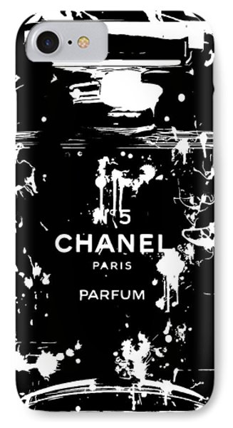 Black And White Chanel Splatter IPhone Case by Dan Sproul