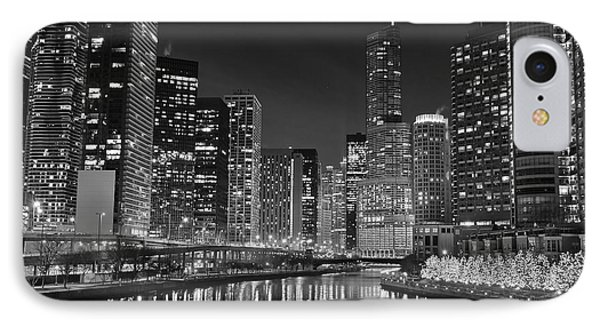 Black And White Chicago Lights IPhone Case by Frozen in Time Fine Art Photography