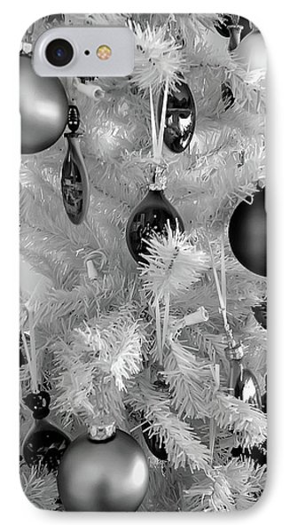 IPhone Case featuring the photograph Black And White Christmas Tree Ornaments by Aimee L Maher Photography and Art Visit ALMGallerydotcom