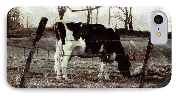 IPhone Case featuring the photograph Black And White - Cow In Pasture - Vintage by Janine Riley