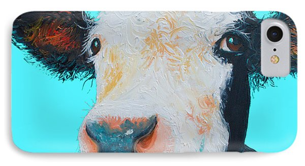 Black And White Cow On Blue Background Phone Case by Jan Matson