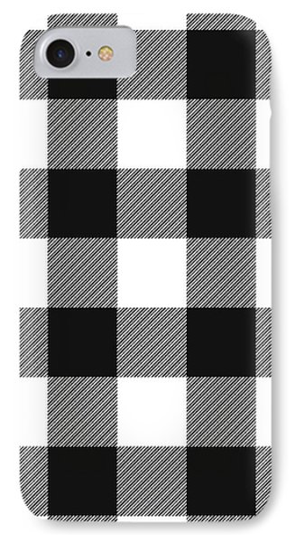 Black And White Gingham Large- Art By Linda Woods IPhone Case