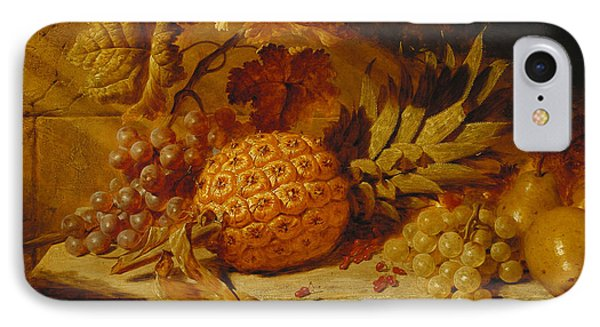 Black And White Grapes, Pears, Redcurrants And A Pineapple On A Ledge, 1845  IPhone Case