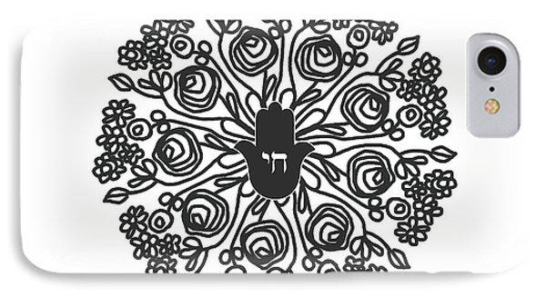 T Shirts iPhone 7 Case - Black And White Hamsa Mandala- Art By Linda Woods by Linda Woods