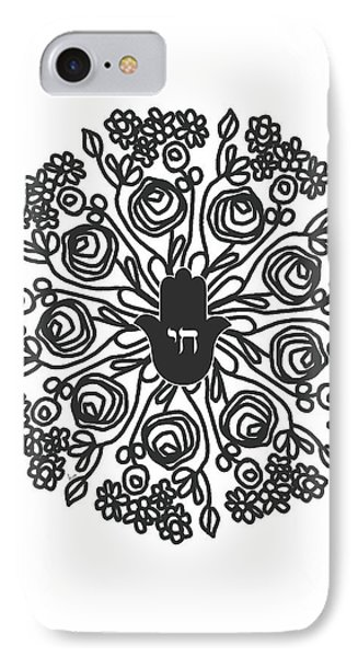 Black And White Hamsa Mandala- Art By Linda Woods IPhone Case by Linda Woods