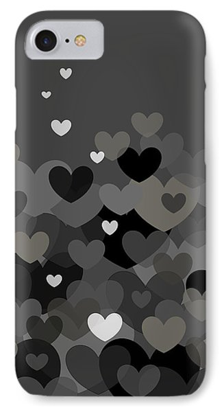 IPhone Case featuring the digital art Black And White Heart Abstract by Val Arie